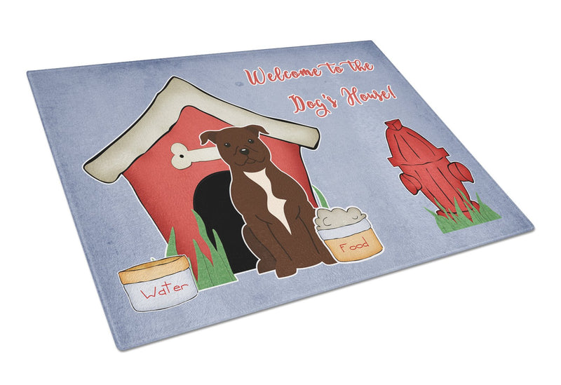 Buy this Dog House Collection Staffordshire Bull Terrier Chocolate Glass Cutting Board Large BB2802LCB