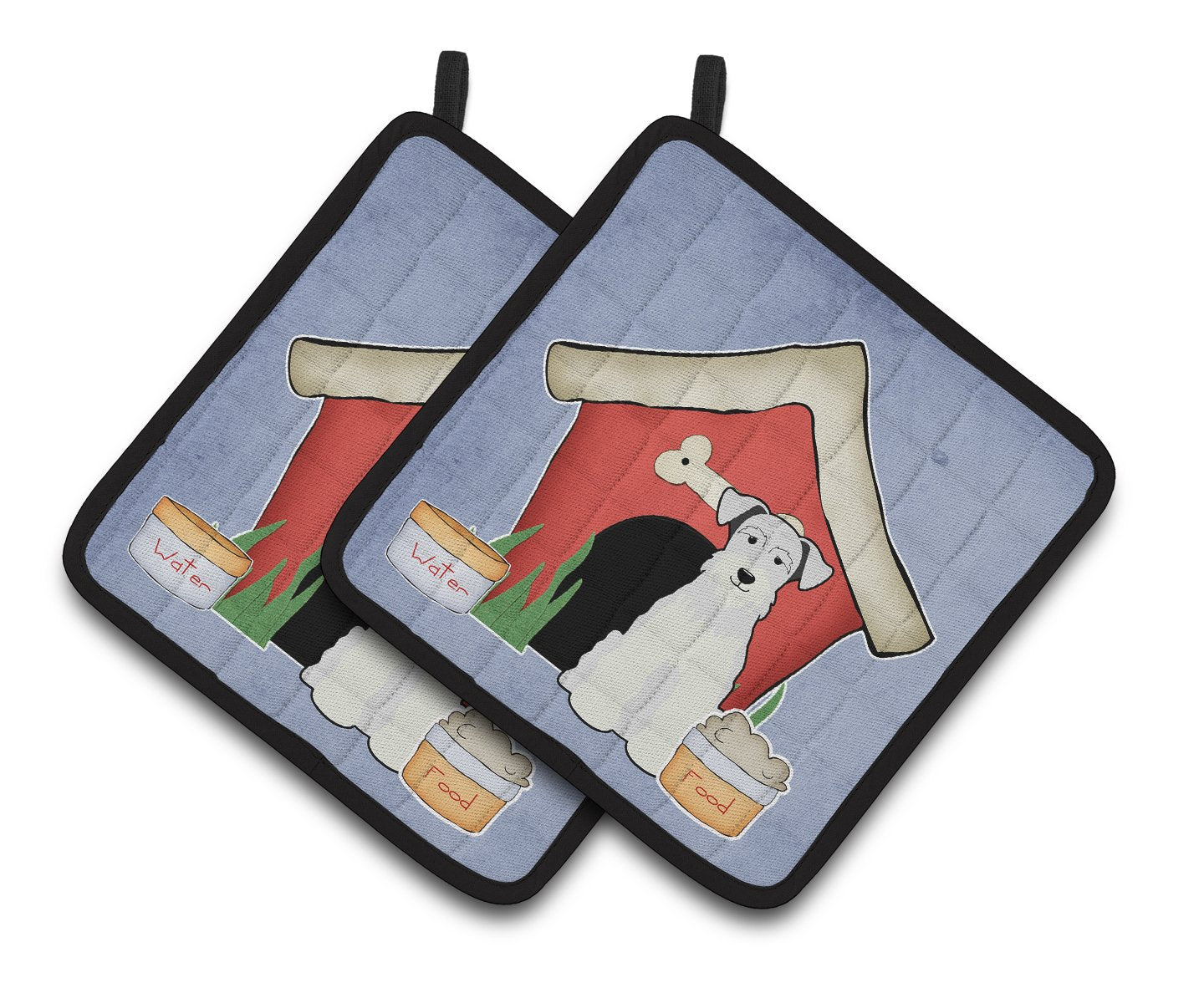 Buy this Dog House Collection Miniature Schanuzer White Pair of Pot Holders