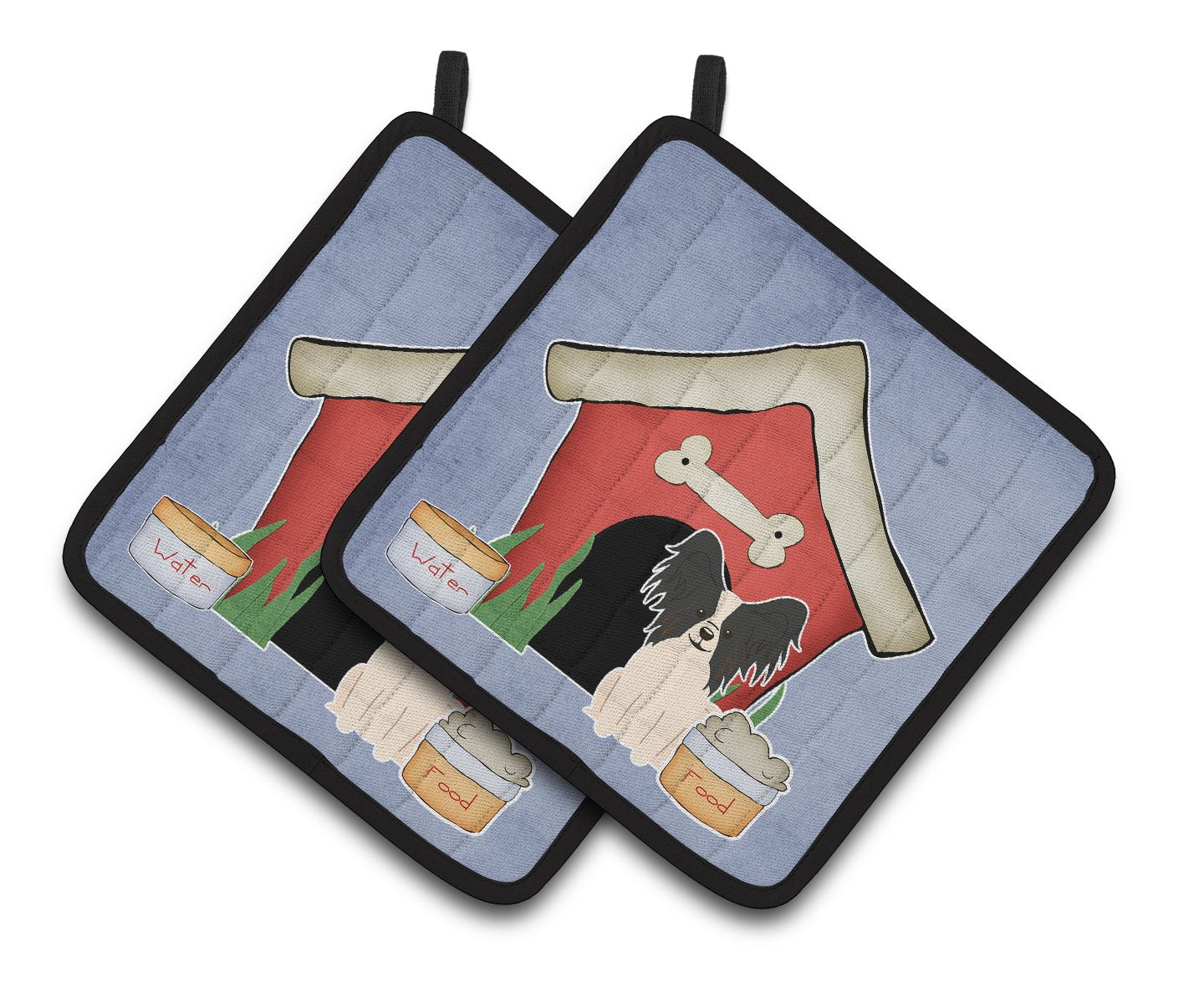 Dog House Collection Papillon Black White Pair of Pot Holders by Caroline's Treasures