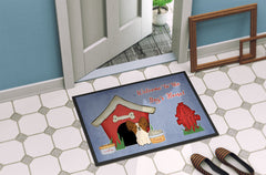 Dog House Collection Papillon Red White Indoor or Outdoor Mat 24x36 BB2832JMAT