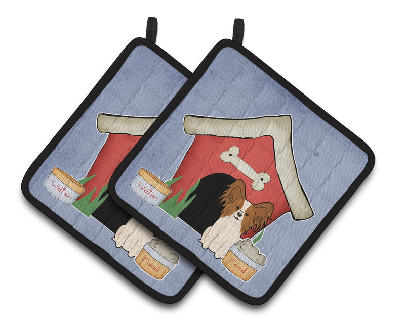 Buy this Dog House Collection Papillon Red White Pair of Pot Holders