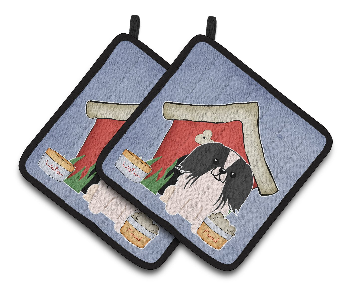 Dog House Collection Pekingnese Black White Pair of Pot Holders by Caroline's Treasures