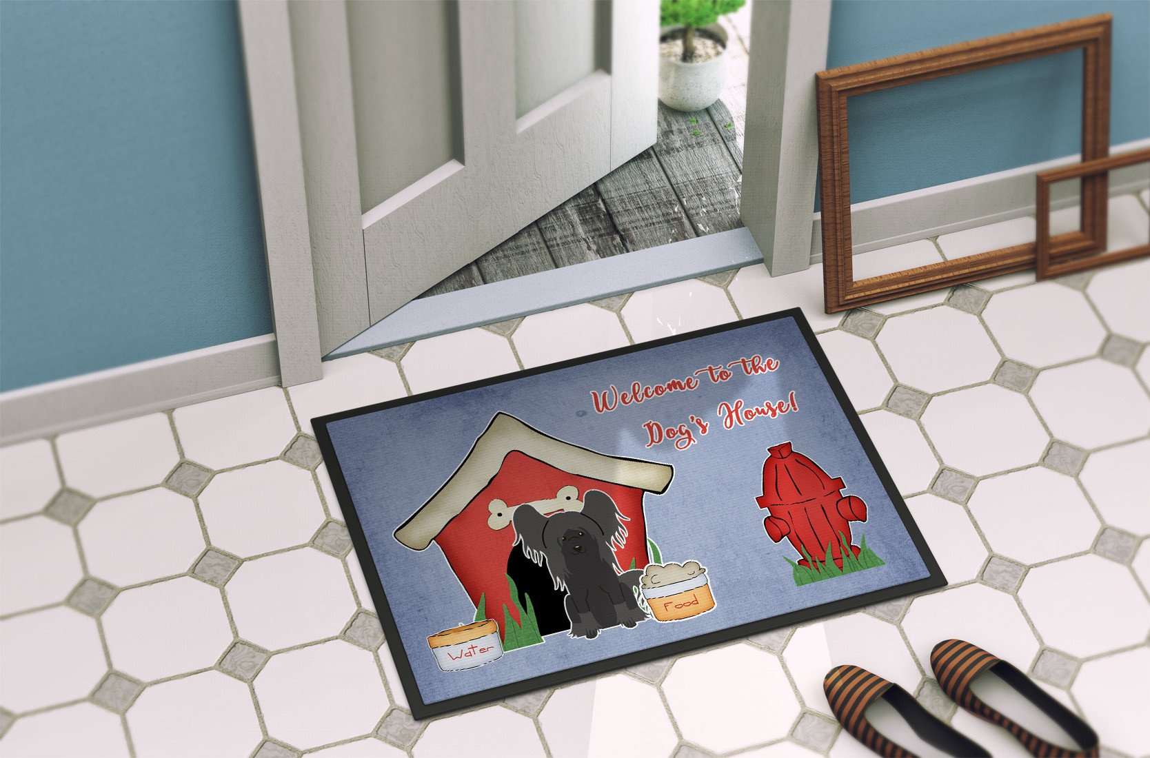 Dog House Collection Chinese Crested Black Indoor or Outdoor Mat 24x36 BB2866JMAT by Caroline's Treasures