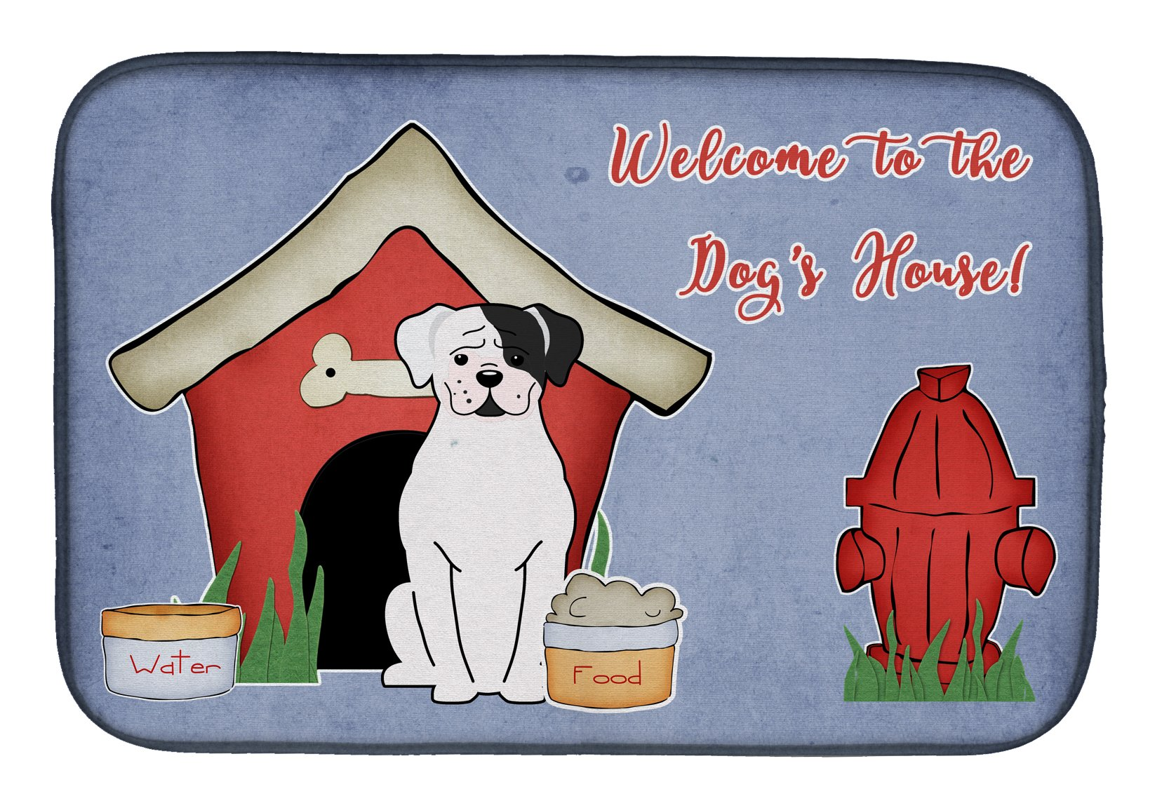 Dog House Collection White Boxer Cooper Dish Drying Mat BB2868DDM by Caroline's Treasures