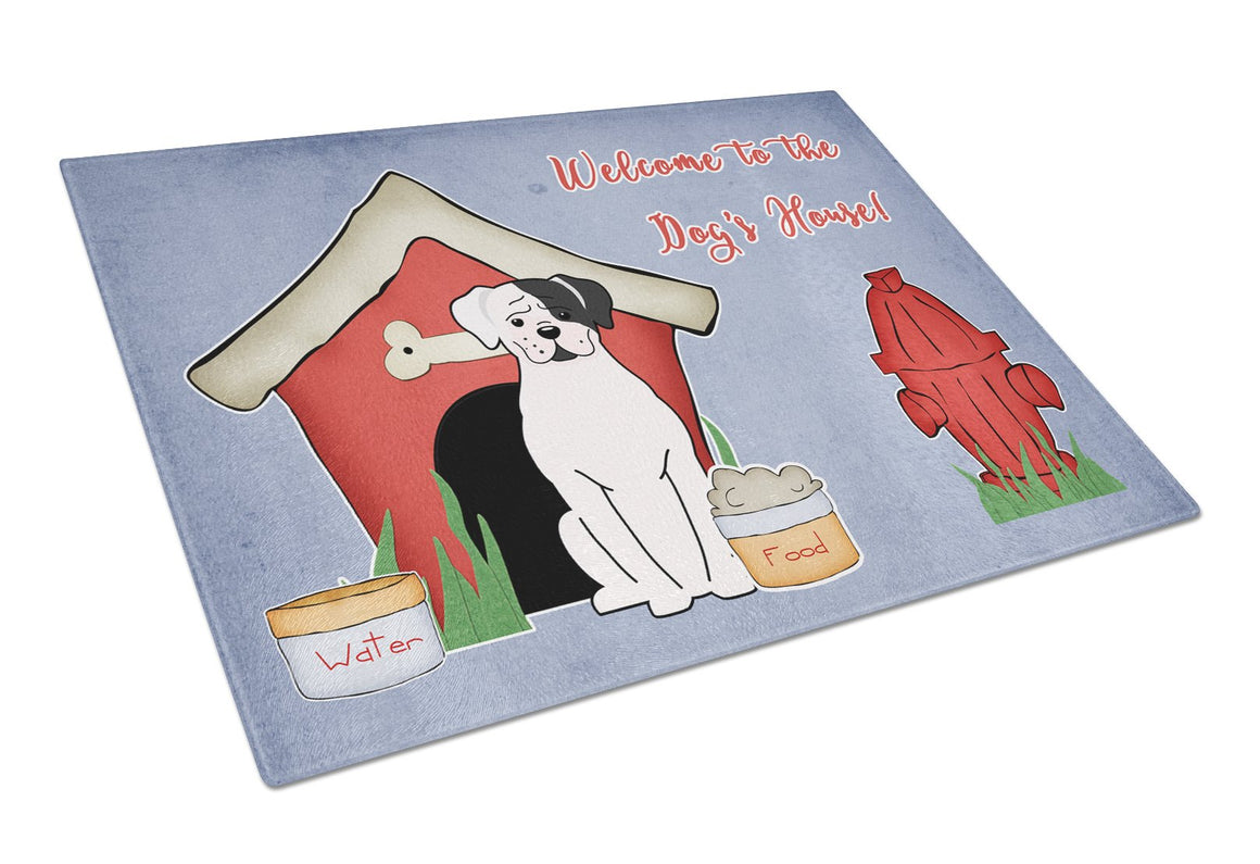 Buy this Dog House Collection White Boxer Cooper Glass Cutting Board Large BB2868LCB