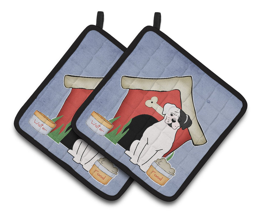 Buy this Dog House Collection White Boxer Cooper Pair of Pot Holders