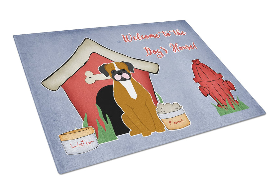 Buy this Dog House Collection Flashy Fawn Boxer Glass Cutting Board Large BB2870LCB