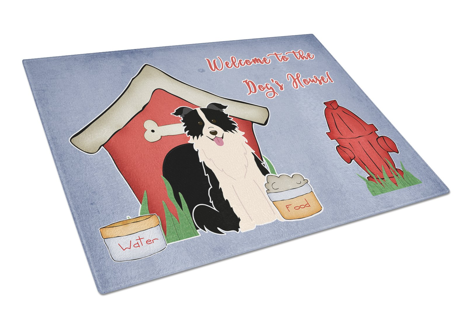 Dog House Collection Border Collie Black White Glass Cutting Board Large BB2872LCB by Caroline's Treasures