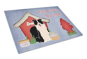 Buy this Dog House Collection Border Collie Black White Glass Cutting Board Large BB2872LCB