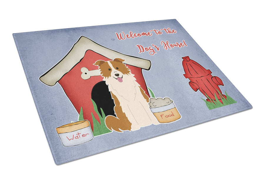 Buy this Dog House Collection Border Collie Red White Glass Cutting Board Large BB2873LCB