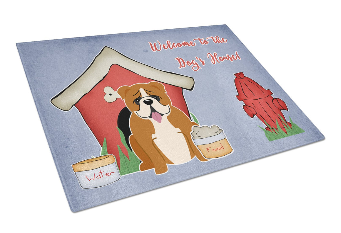 Buy this Dog House Collection English Bulldog Red White Glass Cutting Board Large BB2874LCB