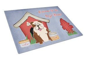 Buy this Dog House Collection English Bulldog Brindle White Glass Cutting Board Large BB2875LCB