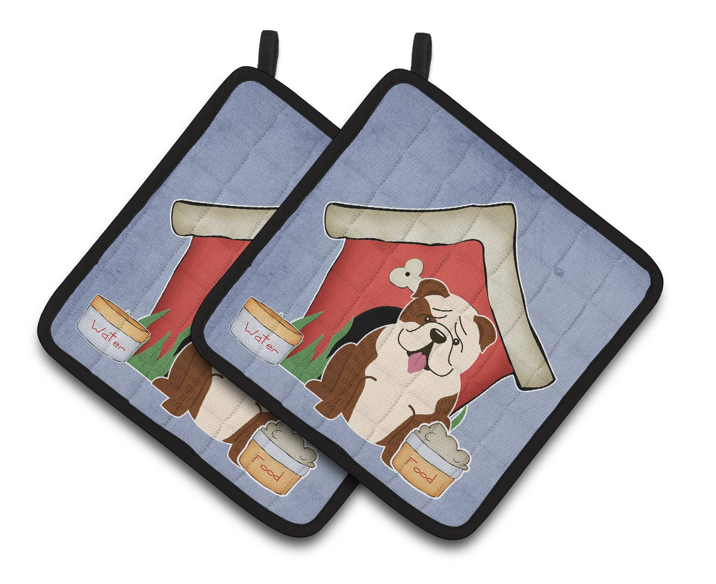 Buy this Dog House Collection English Bulldog Brindle White Pair of Pot Holders