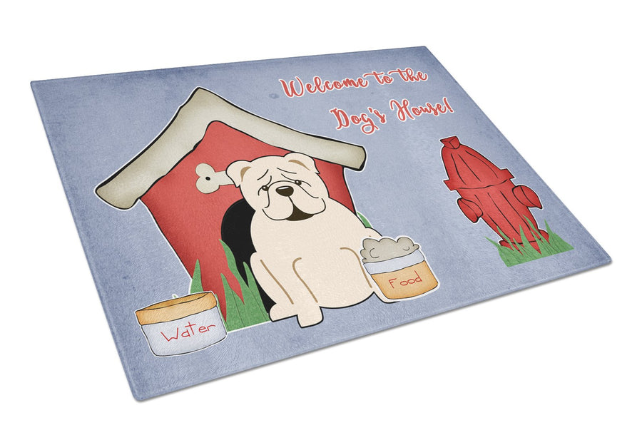 Buy this Dog House Collection English Bulldog White Glass Cutting Board Large BB2877LCB