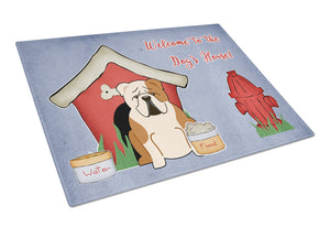 Buy this Dog House Collection English Bulldog Fawn White Glass Cutting Board Large BB2879LCB