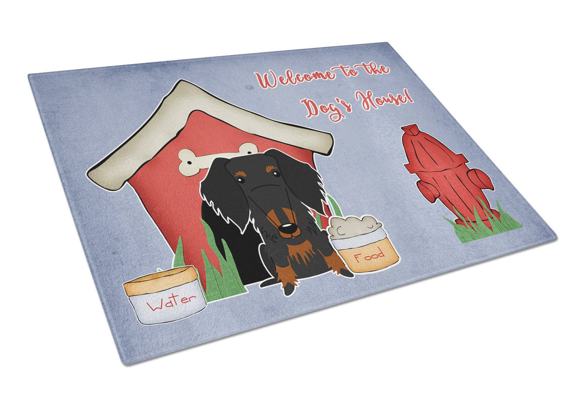 Buy this Dog House Collection Wire Haired Dachshund Black Tan Glass Cutting Board Large BB2881LCB