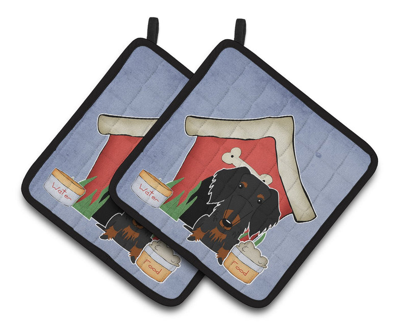 Buy this Dog House Collection Wire Haired Dachshund Black Tan Pair of Pot Holders BB2881PTHD