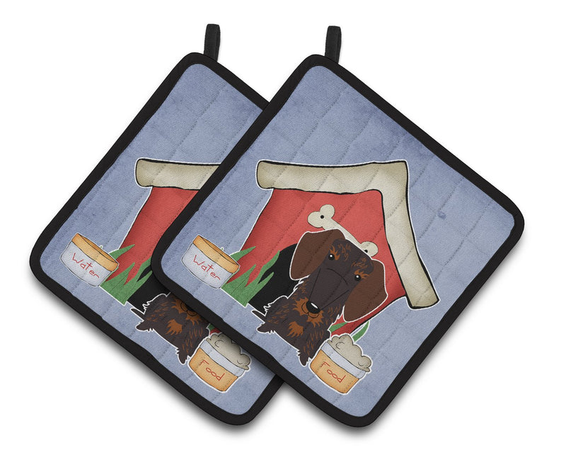 Buy this Dog House Collection Wire Haired Dachshund Chocolate Pair of Pot Holders
