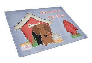 Buy this Dog House Collection Dachshund Red Brown Glass Cutting Board Large BB2884LCB