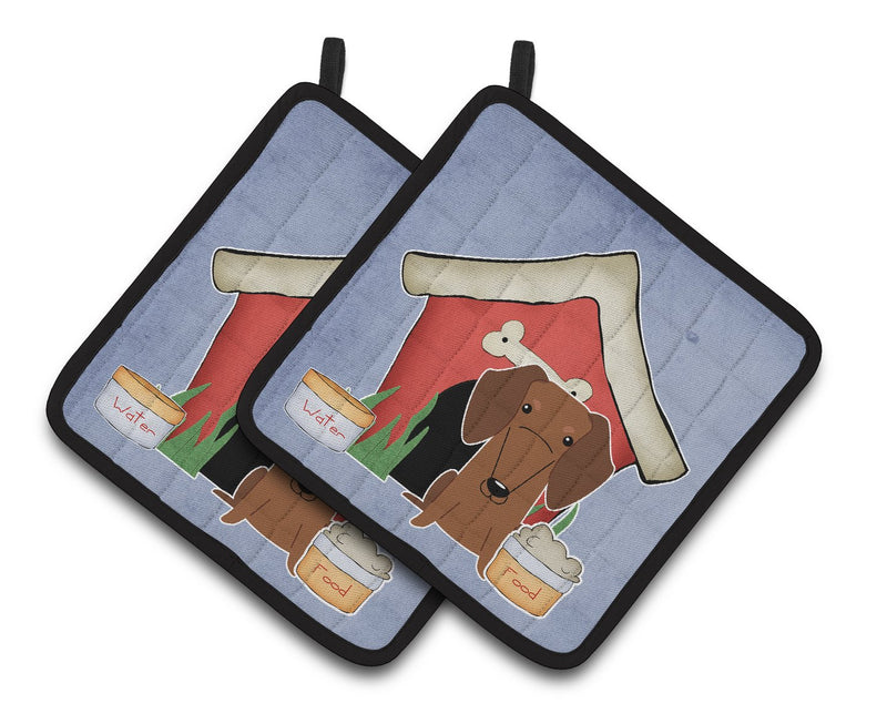Buy this Dog House Collection Dachshund Red Brown Pair of Pot Holders