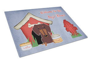 Buy this Dog House Collection Dachshund Chocolate Glass Cutting Board Large BB2885LCB