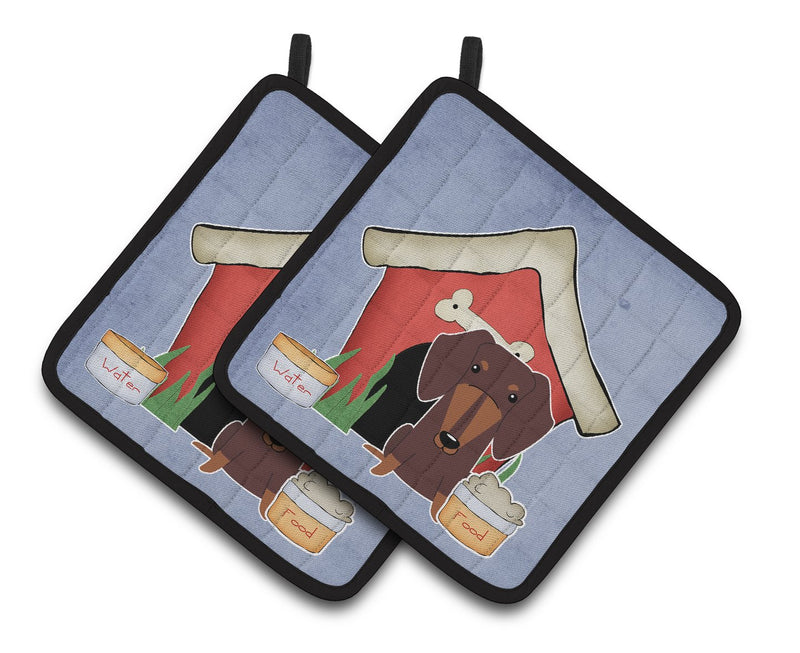 Dog House Collection Dachshund Chocolate Pair of Pot Holders by Caroline's Treasures