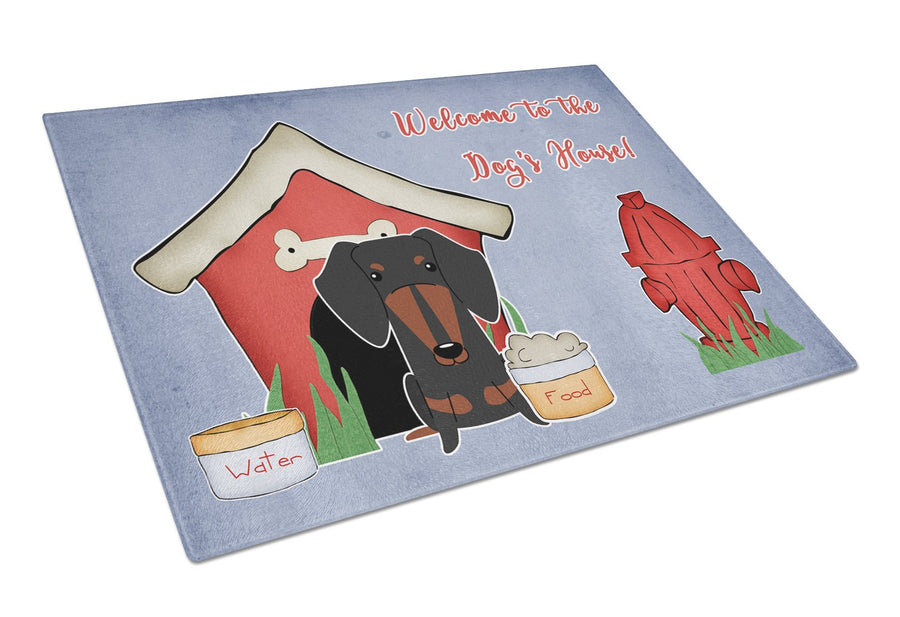 Buy this Dog House Collection Dachshund Black Tan Glass Cutting Board Large BB2886LCB