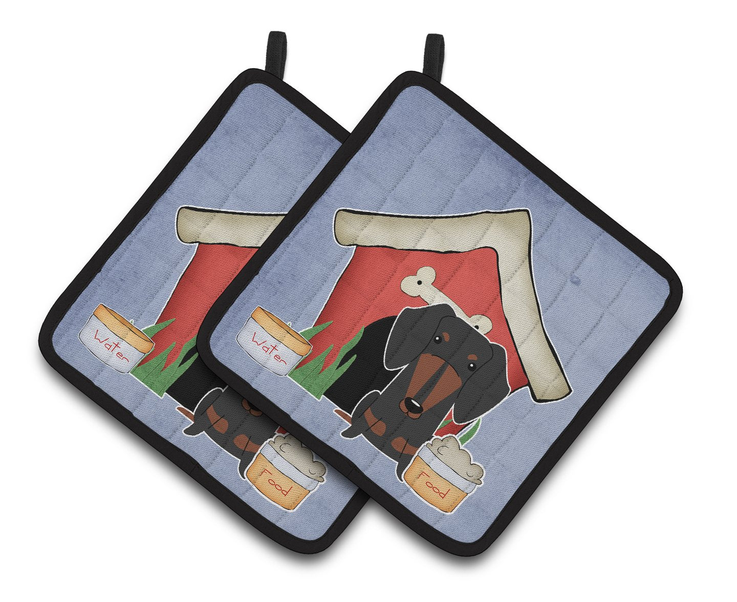 Buy this Dog House Collection Dachshund Black Tan Pair of Pot Holders BB2886PTHD