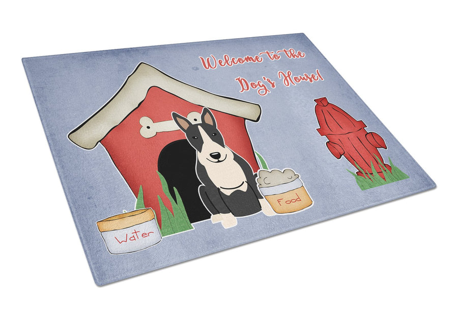 Buy this Dog House Collection Bull Terrier Black White Glass Cutting Board Large BB2887LCB