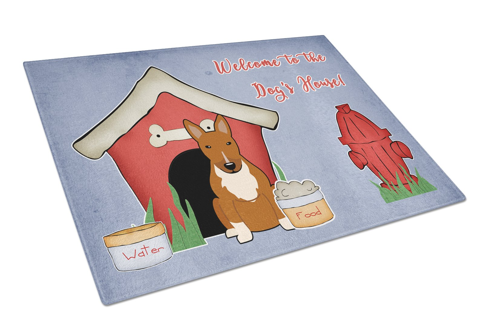 Buy this Dog House Collection Bull Terrier Red Glass Cutting Board Large BB2888LCB