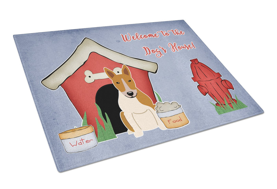 Buy this Dog House Collection Bull Terrier Red White Glass Cutting Board Large BB2889LCB