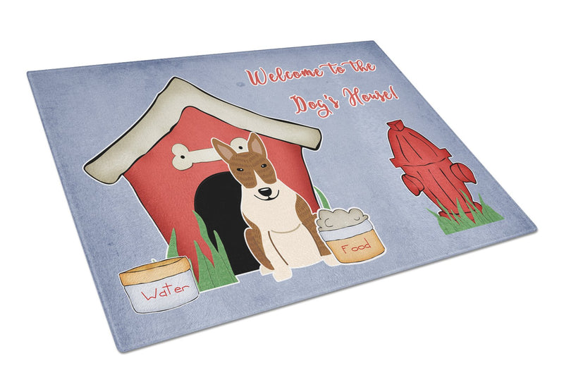 Buy this Dog House Collection Bull Terrier Brindle Glass Cutting Board Large BB2891LCB