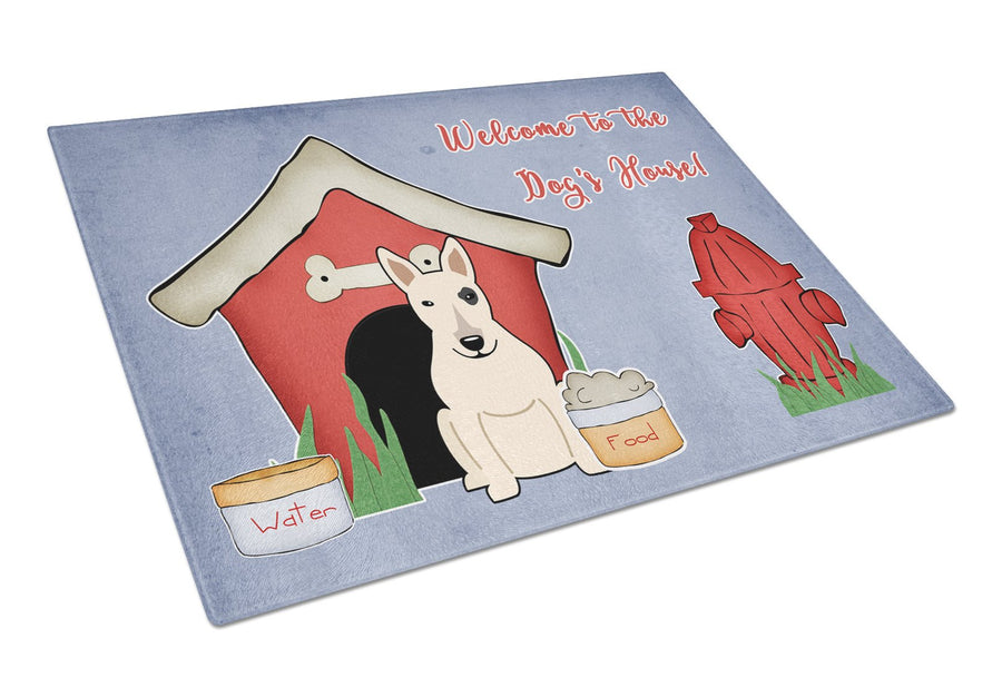 Buy this Dog House Collection Bull Terrier White Glass Cutting Board Large BB2892LCB