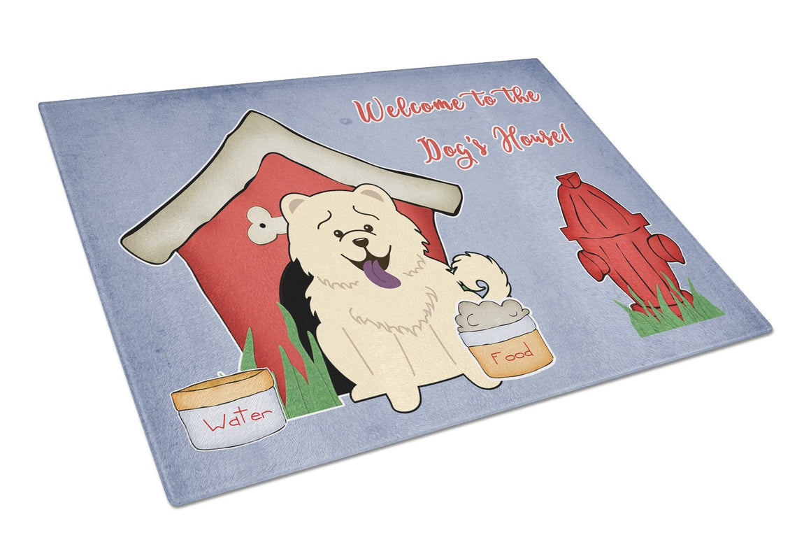 Buy this Dog House Collection Chow Chow White Glass Cutting Board Large BB2894LCB