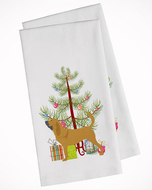 Buy this Bloodhound Merry Christmas Tree White Kitchen Towel Set of 2 BB2902WTKT