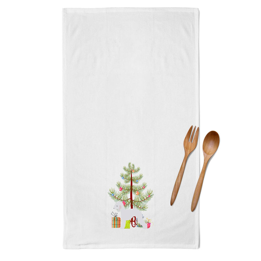 Buy this Bedlington Terrier Merry Christmas Tree White Kitchen Towel Set of 2 BB2912WTKT