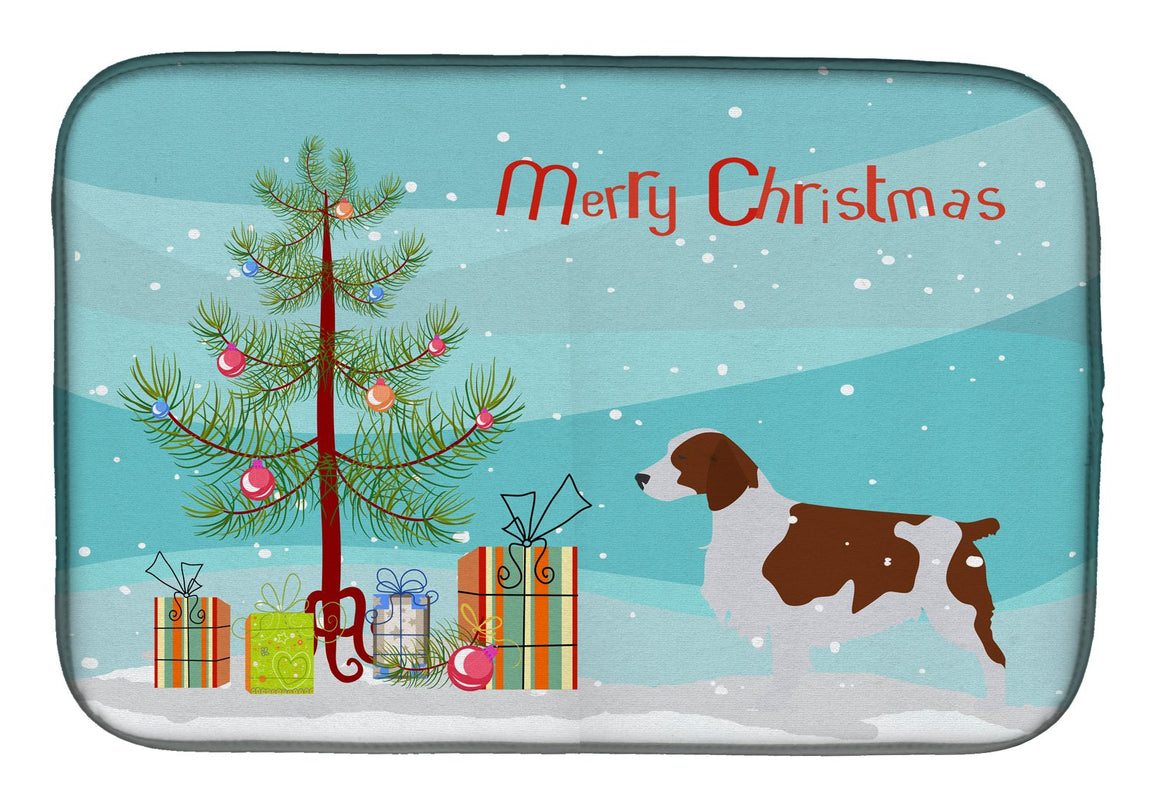 Buy this Welsh Springer Spaniel Merry Christmas Tree Dish Drying Mat BB2918DDM