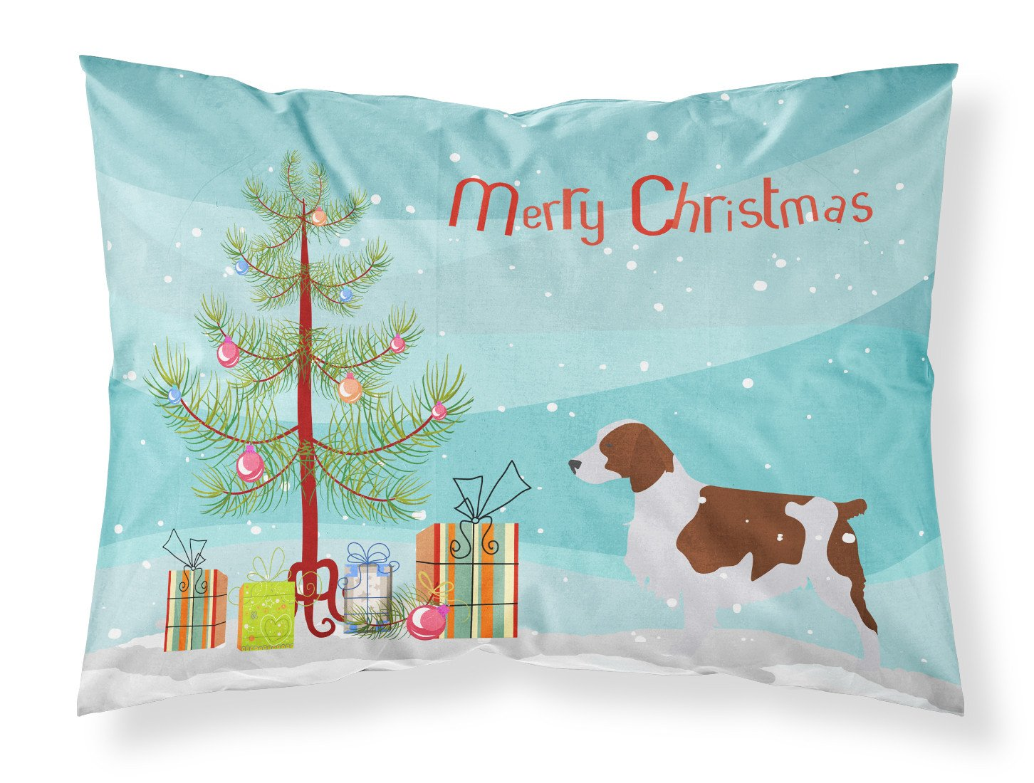 Welsh Springer Spaniel Merry Christmas Tree Fabric Standard Pillowcase BB2918PILLOWCASE by Caroline's Treasures