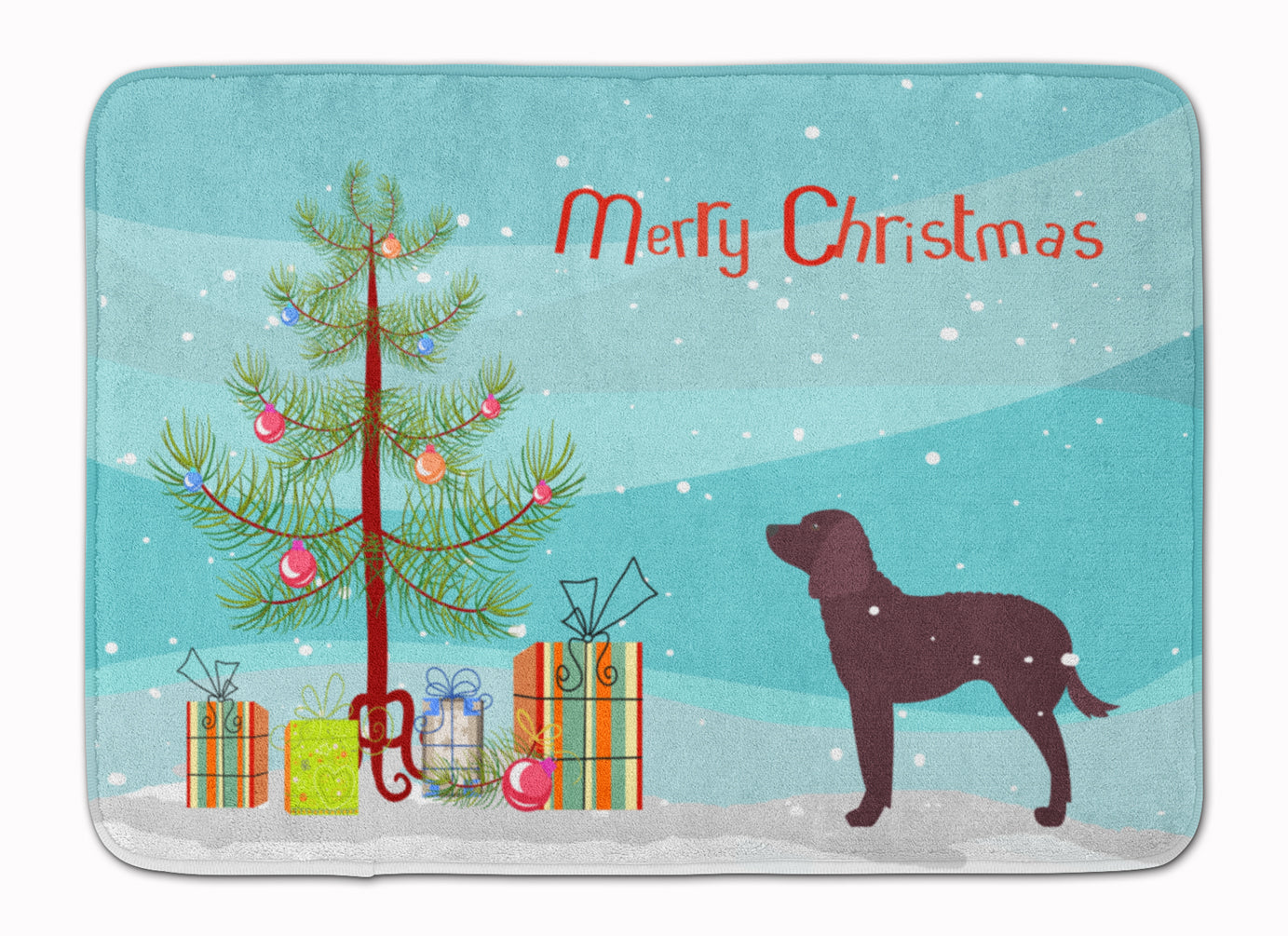 American Water Spaniel Merry Christmas Tree Machine Washable Memory Foam Mat BB2919RUG by Caroline's Treasures