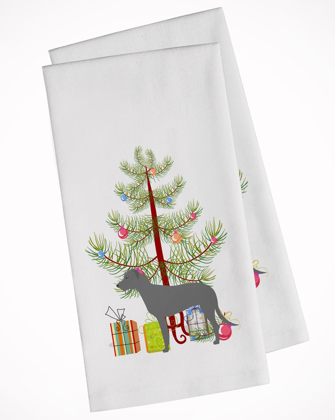 Buy this Irish Wolfhound Merry Christmas Tree White Kitchen Towel Set of 2 BB2921WTKT