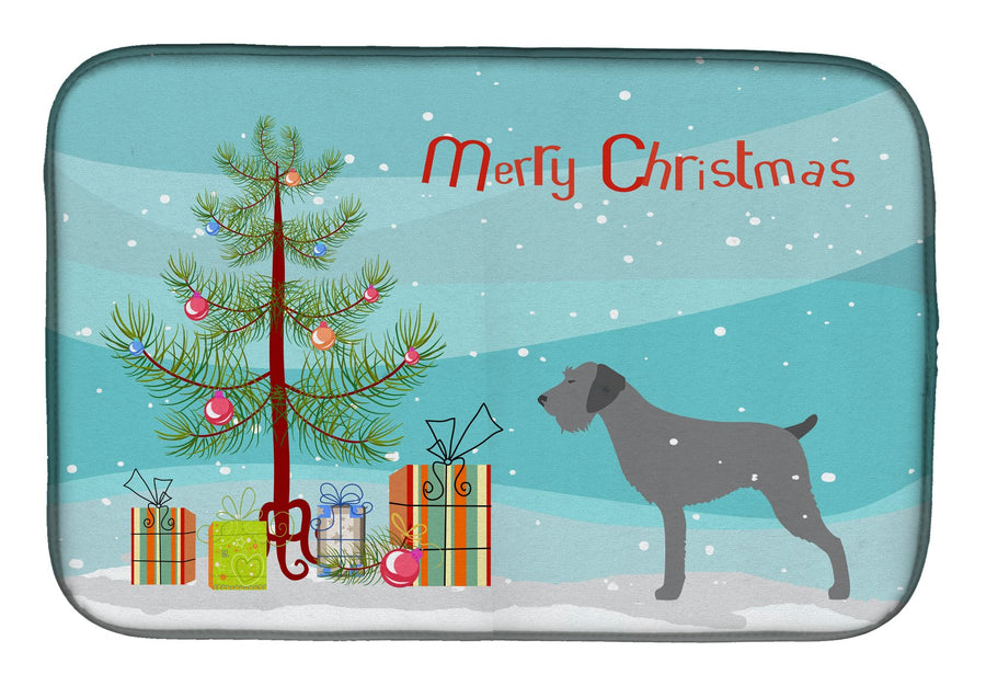 Buy this German Wirehaired Pointer Merry Christmas Tree Dish Drying Mat BB2929DDM