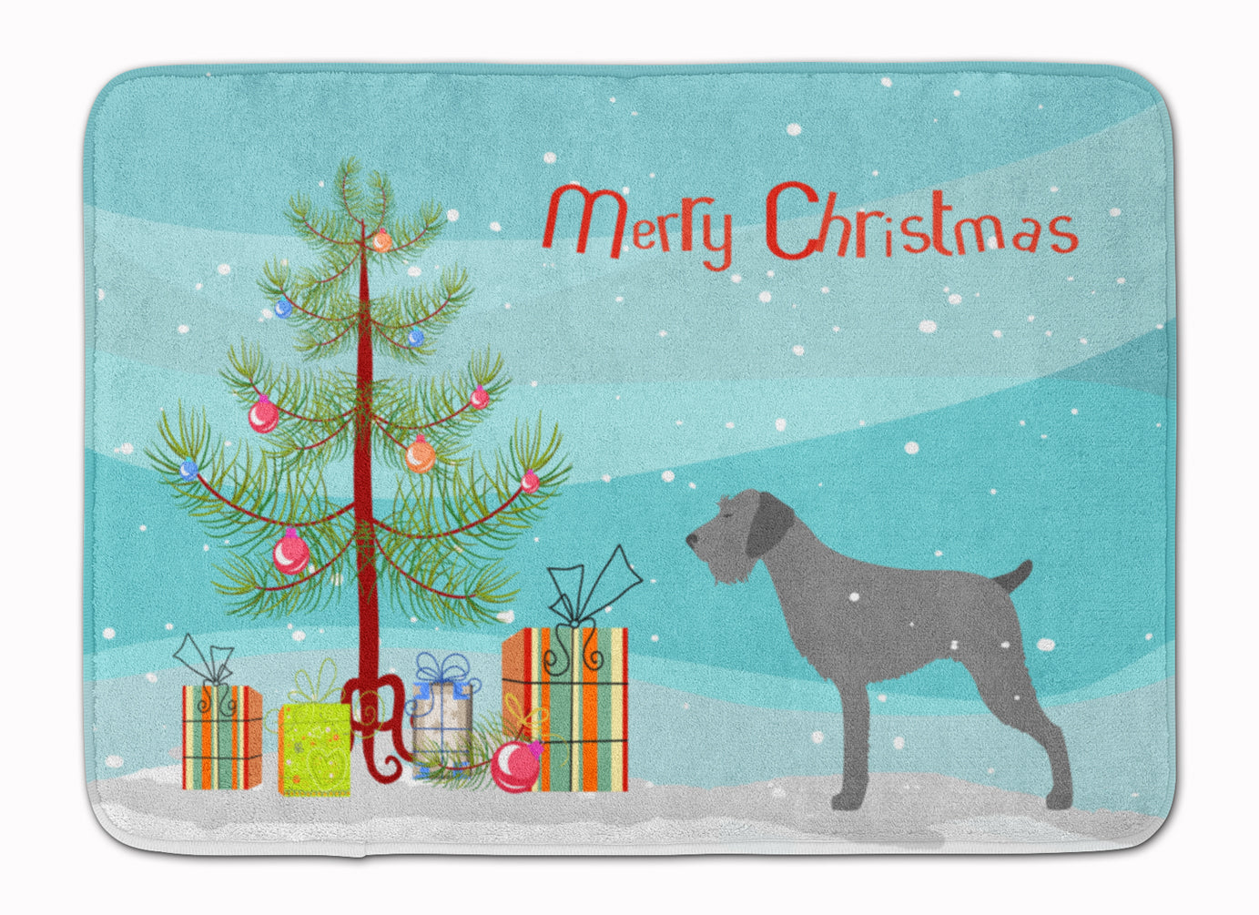 German Wirehaired Pointer Merry Christmas Tree Machine Washable Memory Foam Mat BB2929RUG by Caroline's Treasures