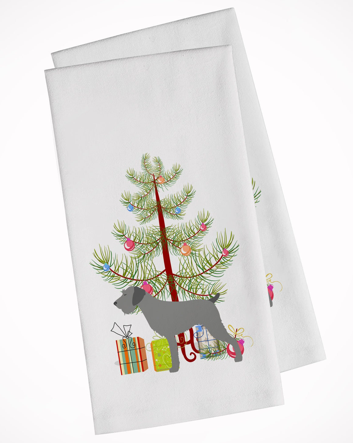 Buy this German Wirehaired Pointer Merry Christmas Tree White Kitchen Towel Set of 2 BB2929WTKT
