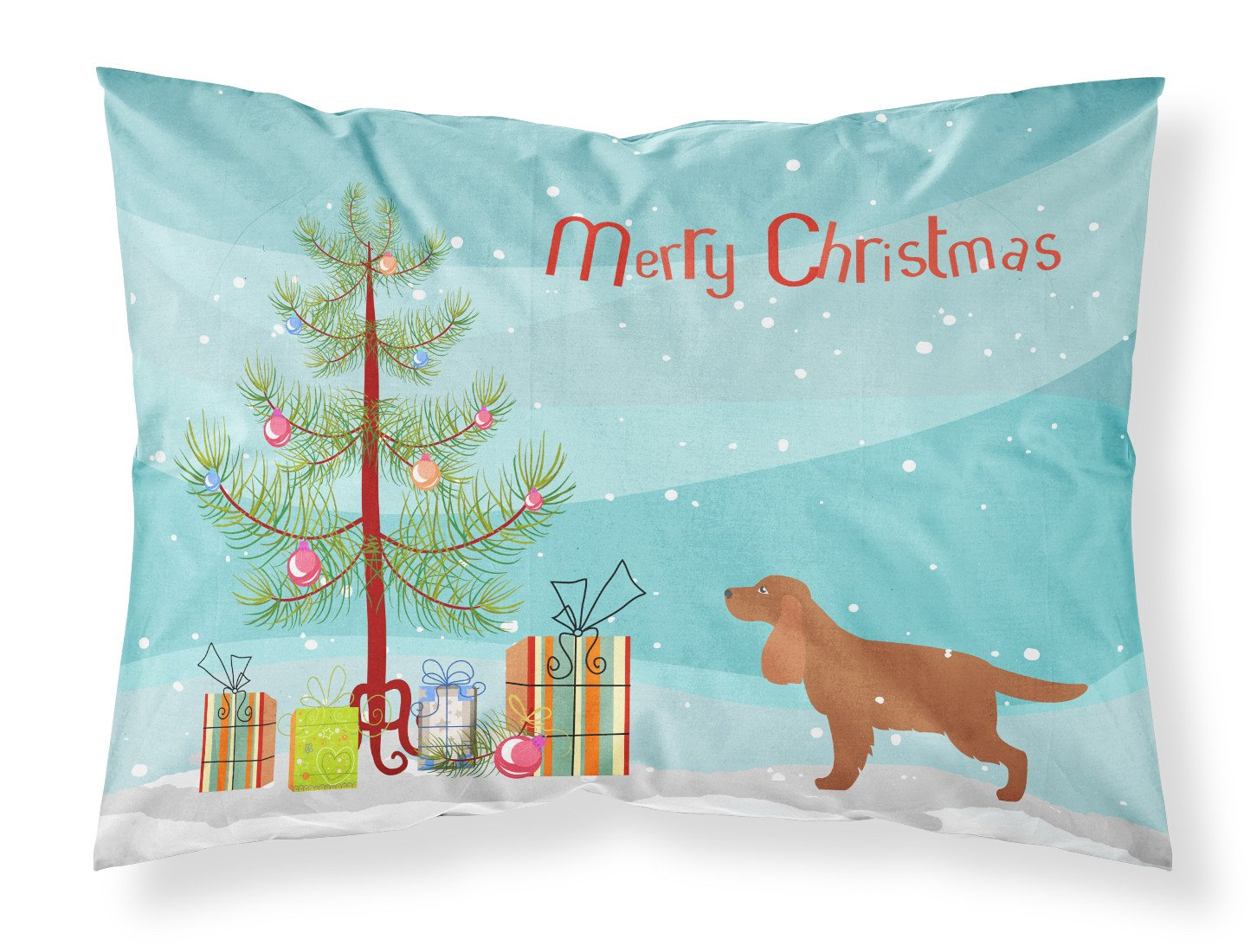 English Cocker Spaniel Merry Christmas Tree Fabric Standard Pillowcase BB2930PILLOWCASE by Caroline's Treasures