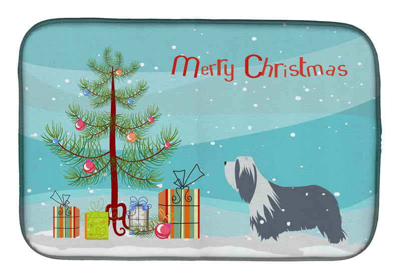 Buy this Bearded Collie Dog Merry Christmas Tree Dish Drying Mat BB2935DDM