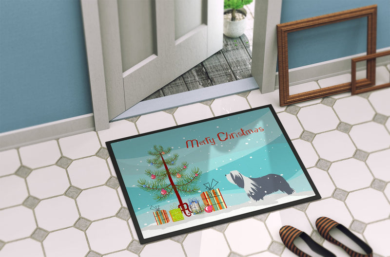 Buy this Bearded Collie Dog Merry Christmas Tree Indoor or Outdoor Mat 24x36 BB2935JMAT