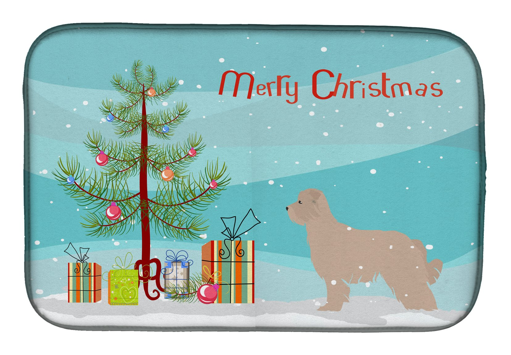 Pyrenean Shepherd Dog Merry Christmas Tree Dish Drying Mat BB2936DDM by Caroline's Treasures