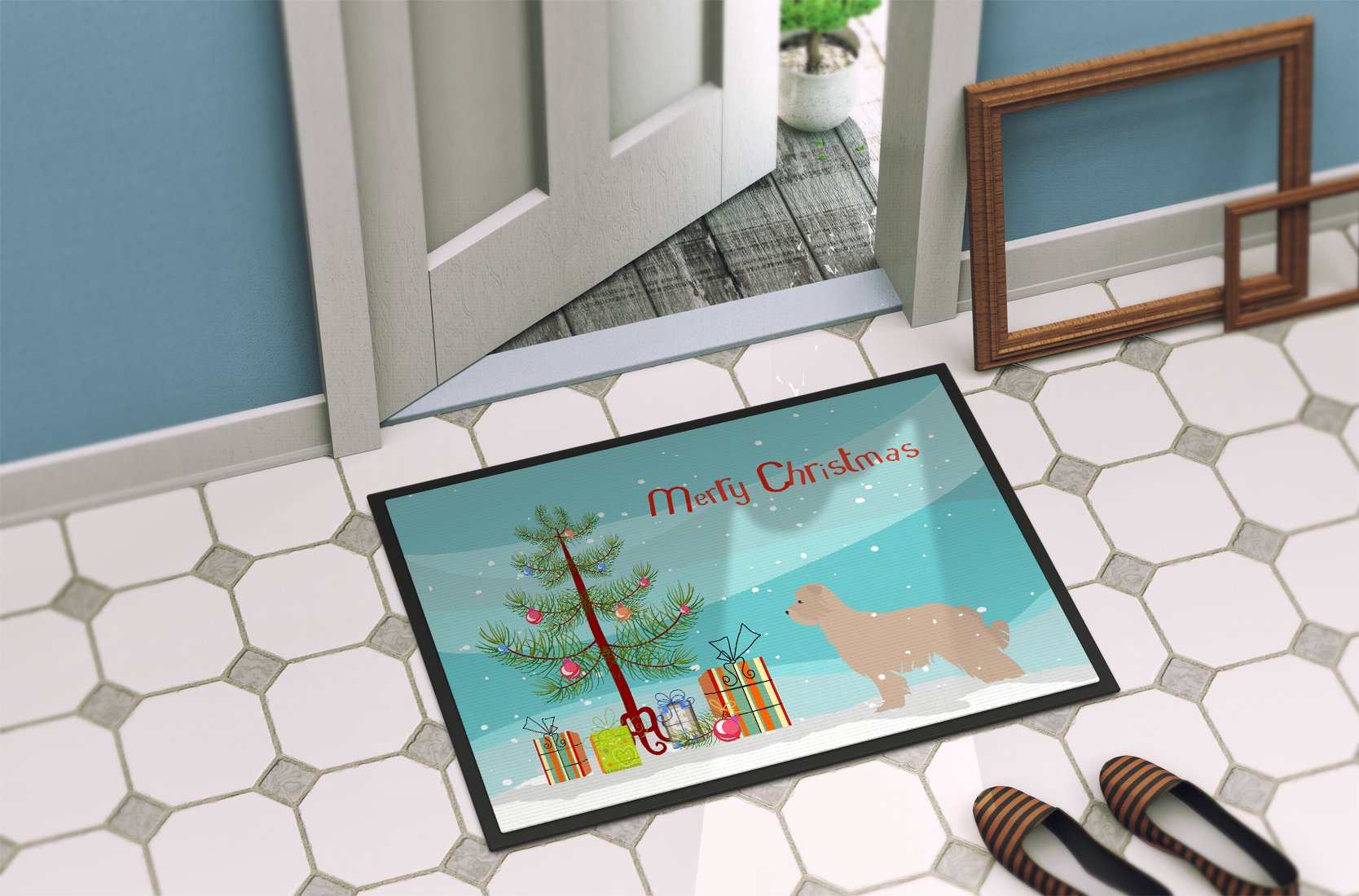 Pyrenean Shepherd Dog Merry Christmas Tree Indoor or Outdoor Mat 24x36 BB2936JMAT by Caroline's Treasures