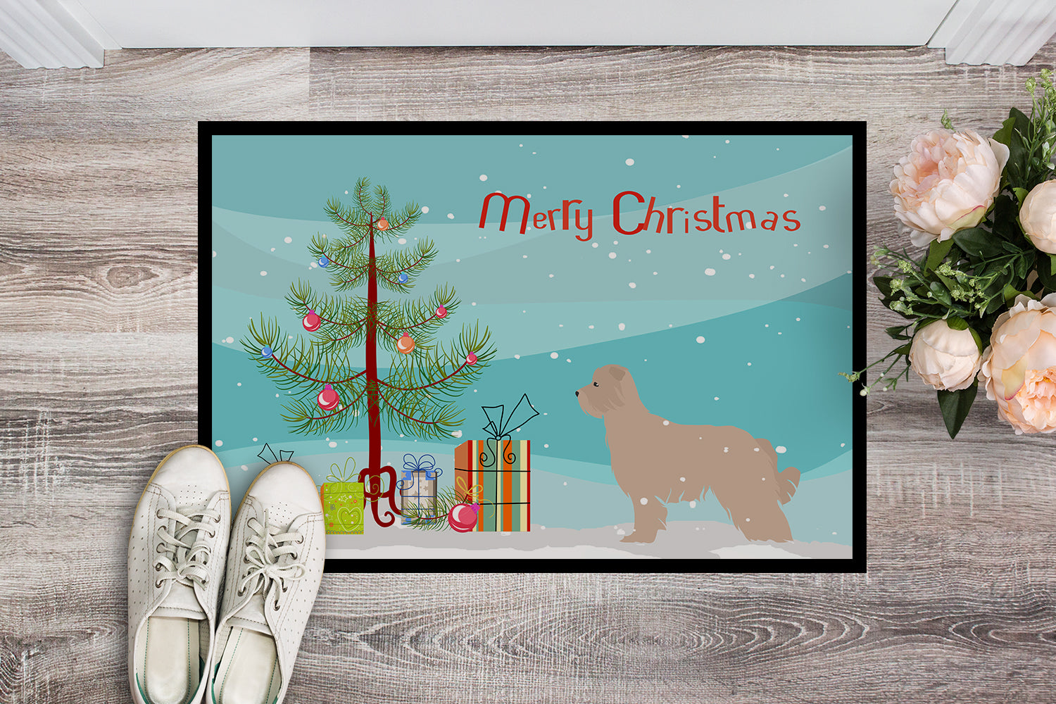 Pyrenean Shepherd Dog Merry Christmas Tree Indoor or Outdoor Mat 18x27 BB2936MAT by Caroline's Treasures
