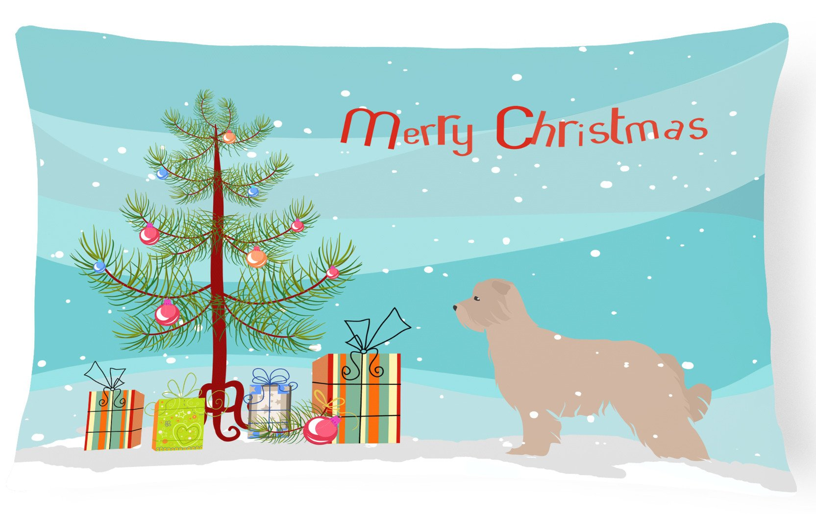 Pyrenean Shepherd Dog Merry Christmas Tree Canvas Fabric Decorative Pillow BB2936PW1216 by Caroline's Treasures